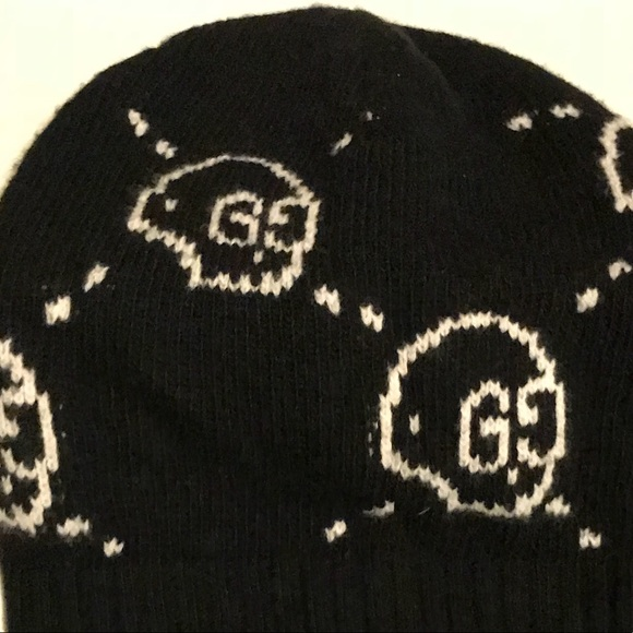 d682af9eb73 Gucci Other - Gucci Ghost Hat Skully Black White Knit